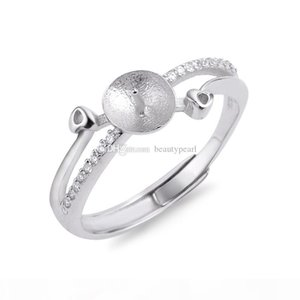 Freshwater Pearl Ring Mounting designs for women 925 Sterling Silver Zircon Ring Blanks Accessories 5 Pieces