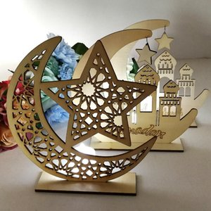 Ramadan Wooden Decor Islamic Muslim EID MUBARAK Home Ornament DIY Hollow Moon Star Sheep Party Decoration Festival Event Favor LJJP123 3PCD