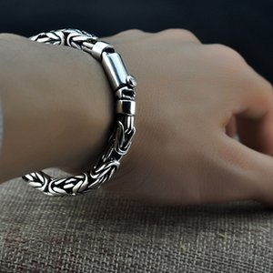 Bracelets Bocai Solid 100% S925 Pure for Woman and Man Handmade Silver Peace Pattern Man's Woman's Bracelet