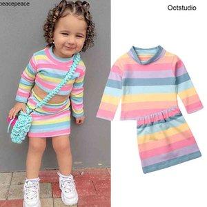 2шт / набор малышей дети девочка девочка цвет полосатая одежда набор с длинным рукавом осень футболки топы + мини юбка наряд детей одежда для девочек