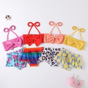 Children Two-Pieces Clothing Leopard watermelon Lemon rainbow Swim Sandy beach Fruit print Swimwear baby girls ruffle swimsuit summer fashion Kids Bikinis