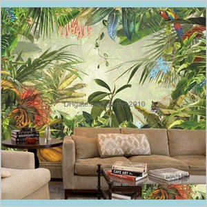 Wallpapers Home Décor & Garden Jungle Tree Animal Wall Murals 3D European Vintage Hand Painting Tropical Leaves Wallpaper For Living R