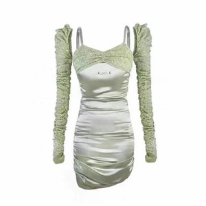 Street Style Dresses AGAM STUDIO's original design carefully machine sexy lace strap satin stitching to show thin hip wrap dress