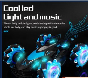 Kid gift gesture induction four-wheel drive stunt car sprayable drift electric remote control cars With music boy children's toy