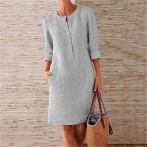 Womens 3 4 Sleeve Shirt Dresses Fashion Trend Round Neck High Waist Buttons Long Skirts Designer Summer Female Pocket Casual Loose Dress