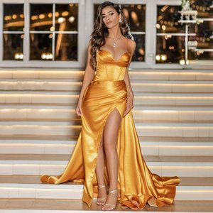 2021 Gold Sweetheart Prom Dresses Satin Long Evening Gown Sexy High Split Dubai Party Dress Formal Gowns Abendkleider