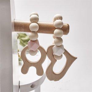 4 Braccialetti per la cura del bambino Braccialetti in legno Branzini in silicone Perle di silicone dentizione Legno Rattles Giocattoli Baby Cartoon Animale Animale Braccialetti Braccialetti Nursing Toys 582 K2