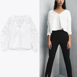 blouses ZA White Long Sleeve Ruched Blouse Women V Neck Elastic Vintage Spring Shirts Woman Fashion Fitted Casual Top Blusas