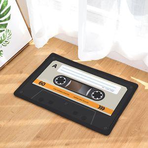 Door mat Flannel Plush Vintage Cassette Tape Indoor Doormat Non Slip Door Floor Mats Carpet Rugs Decor Porch Doormat Tapete 777 K2