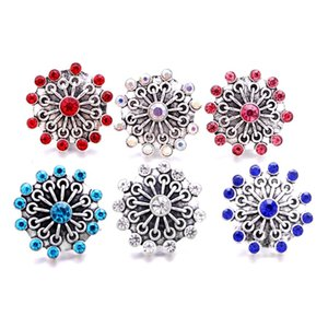 Wholesale Rhinestone fastener 18mm Snap Button fireworks shape Clasp Metal charms for Snaps Jewelry Findings suppliers snapper