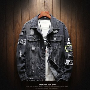 Jacket Mens Fashion Casual Loose Trend Moto&biker Patch Print Hole Denim Coats High Quality Cotton Cowboy Jackets