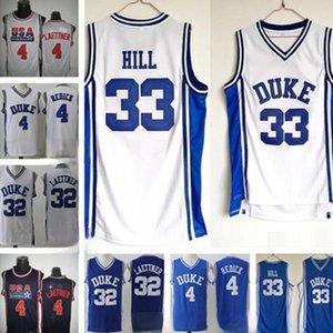 남자 Ncaa Duke Blue Devils Jerseys 4 JJ Redick 33 Grant Hill 32 Christian Laettner White 모든 스티치 대학 농구 유니폼