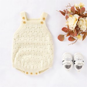 Baby Bodysuits Sleeveless Newborn Bebes Girl Onesie Tops Fashion Solid Color Toddler Kids Boys Knit Jumpsuit 0-18M Children Wear 892 X2