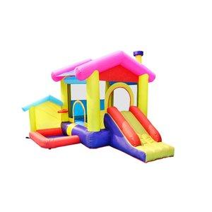 Casa Inflável Bounce Casa Jardim Supplie Bouncy Castle Playhouse com Bola Pit Inflatables Crianças Slide Jump Jumper Castelos W / Air Blower