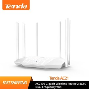Tenda AC21 AC2100 Router Gigabit 2.4G 5.0GHz Dual-Band 2033Mbps Wireless Wifi Repeater with 6 High Gain Antennas 210918