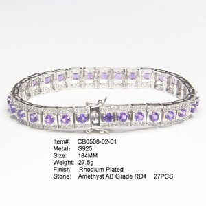 High-end luxury Austrian Crystal 925 Silver Chain Women Bangles Bracelets Jewelry