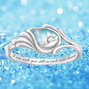 Cluster Rings Fashion Angel's Wing For Women Silver Color Rainbow Stone Ring With Letters Jewelry Gifts Drop
