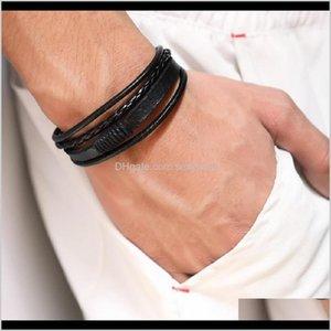 Drop Delivery 2021 Fashion Braided Black Brown Leather Mens Charm Bracelet Handmade Design Hip Hop Jewelry Punk Bracelets For Men Gift Y7Ewi