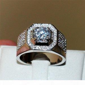Fashion 10KT white gold filled Gemstone Zircon Diamond Ring for Men Vintage Jewelry CZ Anel Masculino Engagement Wedding Band Rings SZ 7-13