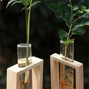 Crystal Glass Test Tube Vase in Wooden Stand Flower Pots for Hydroponic Plants Home Garden Decoration 507 R2