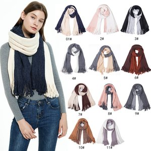 Scarf For Women Double-sided Pure Color Scarves Knitted Tassel Neckerchief Fashion Splice Neck Gaiter Warmth Winter Muffler WMQ1311