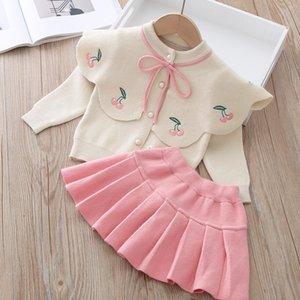 LZH infantil bebé niñas ropa conjunto nuevo otoño invierno niños ropa cherry tejer suéter falda 2pcs traje ropa para niños 900 V2