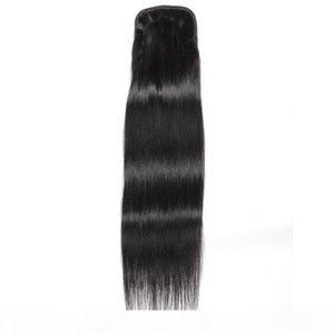 Indian 100% Human Hair Ponytails Straight Mink Hair Extensions 100g Silky Straight 8-24inch Ponytails Natural Black