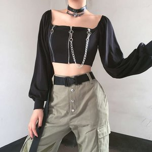 Dresses Casual Double zipper square with collar bone design feeling solid color long sleeve T-shirt for women autumn ins women's wear