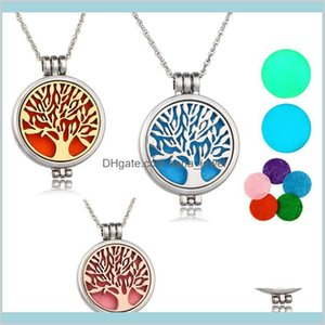 Necklaces Pendants Locket Aromatherapy Necklace With Felt Pads Stainless Steel Jewelry Pattern Tree Of Life Pendant Oils Essential Dif