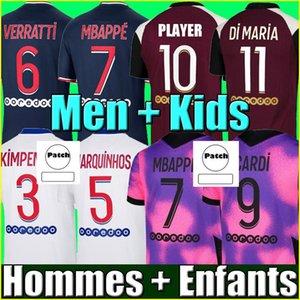 Maillots de Fútbol 20 21 París Fútbol Jersey 2021 MBAPPE ICARDI Camisa Hombres Niños Maillot De Pie Homes Enfants Kimpembe 4to Gana Kean Neymar Marquinhos