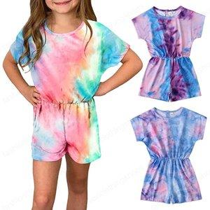 Çocuklar Tulum Kızlar Kravat Boya Romper Çocuk Degrade Tulumlar Yaz Moda Butik Bebek Giyim