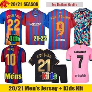 21 22 FC Barcelona Soccer Jerseys KUN AGUERO 2021 2022 MESSI Barca GRIEZMANN F.DE JONG BRAITHWAITE ANSU FATI Football Shirt Mens Jersey Kids Kit