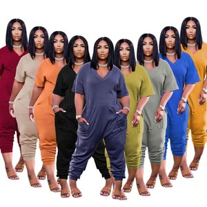 여성 Tracksuits 2021 봄과 여름 솔리드 컬러 패션 캐주얼 스트리트 착용 점프 수트 반바지 슈트 플러스 사이즈 디자이너 여성 의류 XS-3XL