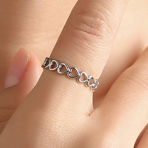 Silver Colour Hollowed-out Heart Shape Open Ring Cute Fashion Love Jewelry For Women Young Girl Child Gifts Adjustable