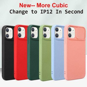 UPDATE Cube Straight Edge Slide Door Camera Protection Phone Cases For iPhone 12 mini 11 pro XR XS MAX 7 8 6 Plus