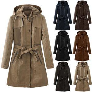 Women's Trench Coats Jackets Women Arrivals Autumn Winter Genuine Leather Sashes Add Cotton Warm Coat True