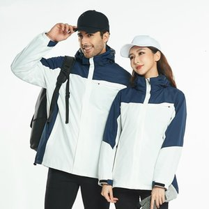 Outdoor jacket mountaineering ski wear two-piece detachable jacket winter men and women plus velvet thick three-in-one1