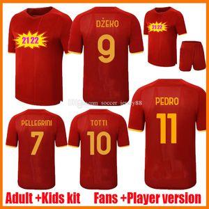 21 22 Dzeko Soccer Jersey Home Red Pedro Zaniolo Pastore Totti Kluivert Kolarov El Shaarawy Camicia da calcio 2021 2022 Uomo + Kid Kit Kit Uniformi Maillot