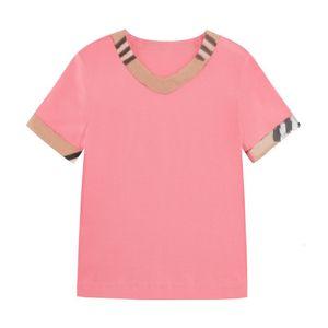 Детские рубашки Летняя мода Сплошной цвет полоса футболка детей мальчики с короткими рукавами белые тройники детские детские хлопковые топы для девочек одежда