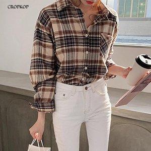 Женские блузки Рубашки Женщины Корейский стиль Осенние Винтажные клетки С Длинным Рукавом Плюс Размер Рубашка Повседневная Кнопка Женские Топы 2021 Мода Ткань