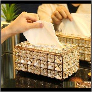 Dekorative Platten Atrents Dekor Gartentropfen Lieferung 2021 Rhinestone Tissue Box Papier Rack Büro Tisch Asororien Gesichtsbehälter Halter Napin T