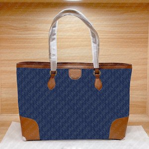 2021 Luxury designer brand women denim large tote shopping bag classic ivory white letter print brown cowhide leather handle handbags shoulder bags