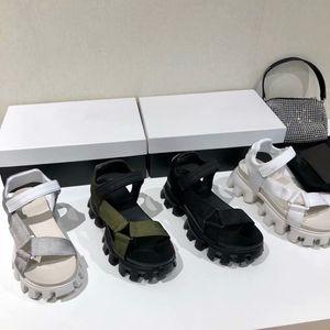 Women Sport Sandals nylon band strap Slippers fastener Increase high Platform Sandal Thunder Thick Bottom Heels Rubber womens Flip Flop Shoes 35-40