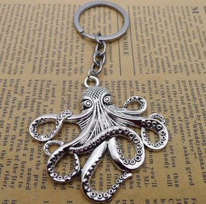 keyrings Ancient Silver bronze Sea Monster Keychain Big Octopus squid Charm Pendant Key Chain Men Women Holiday Gift Keychain