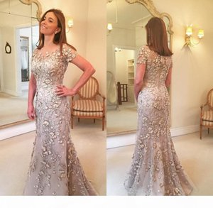 Short Sleeves Evening Dresses Lace Long Formal Godmother Mother of the Bride Party Guests Gown Plus Size Custom Made