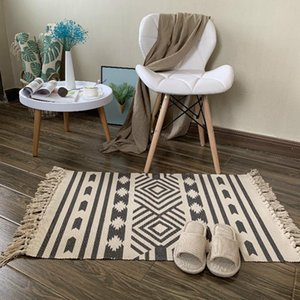 Carpets Ethnic Persian Cotton Tassel Home Weave Welcome Foot Pad Bedroom Study Room Floor Rugs Morocco Tapestry Prayer Mattress