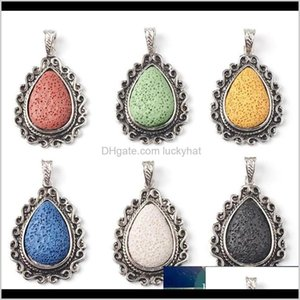 Charms Colorful Water Drop Volcano Lava Stone Pendants Diy Aromatherapy Essential Oil Diffuser Necklace For Women Jewelry Wjscz Gwxwu
