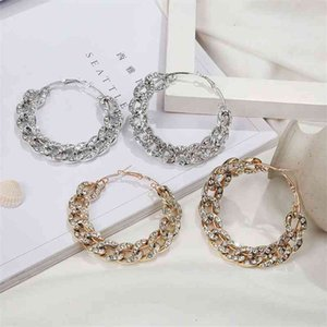 Fashion exaggeration big thick chain studded CCB circle Jewelry Earrings