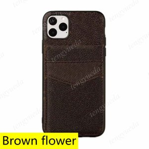 패션 디자이너 브라운 꽃 전화 케이스 아이폰 12 11 프로 최대 xs xr xsmax 78 플러스 가죽 카드 홀더 포켓 핸드폰 커버와 삼성 Note20 노트 10 S20 S10