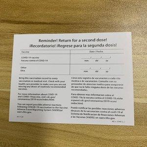 4 * 3 pollici CDC CDC VACCINATO COPERTURE VACCINATO PROTECTOR PROTECTOR PROTECTORE PVC per la vaccinazione Titolare delle schede di registrazione Immunizzazione Porta biglietti da visita
